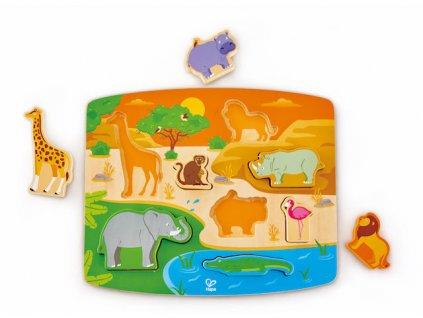 Hape Drevené vkladacie puzzle SAFARI