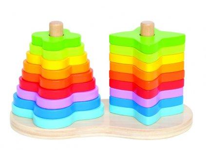 Hape drevené nasazovacie skladačky vo farbe dúhy