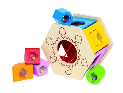 Hape drevený box s geometrickými otvormi