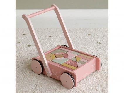 Little Dutch Drevený vozík s kockami - pink
