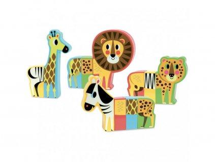 Vilac Magnetické drevené puzzle Safari