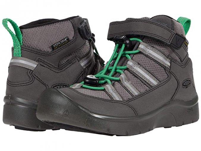 KEEN Kids Hikeport 2 Mid Strap WP ToddlerLittle Kid BlackIrish Green Boys Shoes