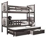 Poschodové postele s prístelkou 180x80
