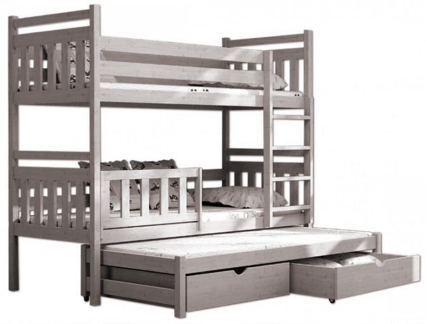 Poschodové postele s prístelkou 200x90