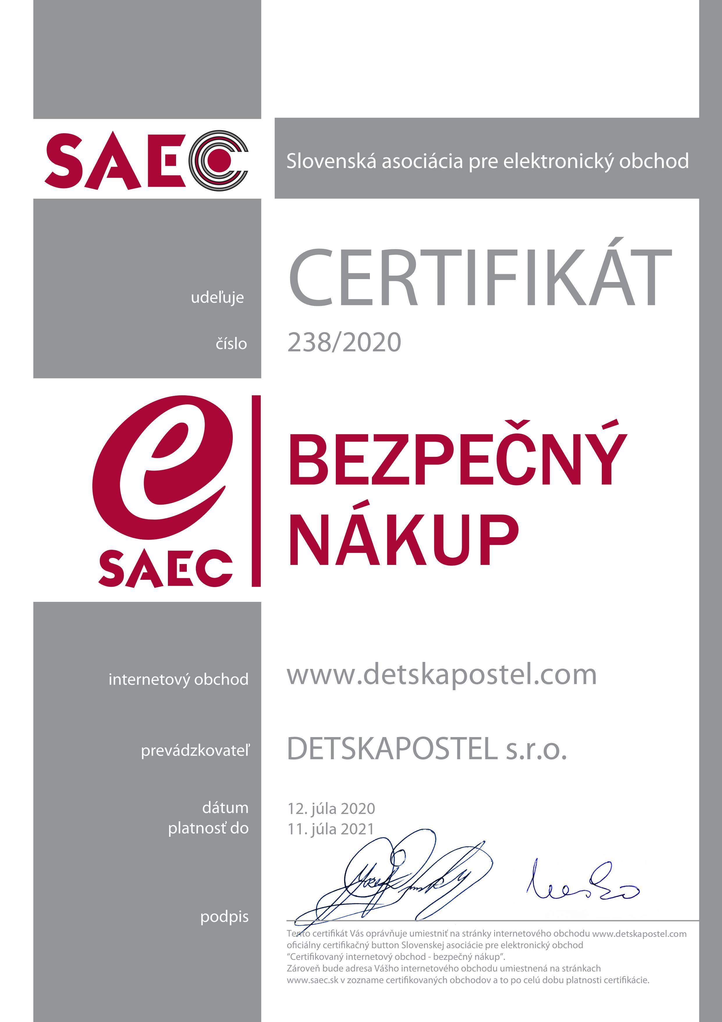 SAEC - bezpečný nákup certifikát