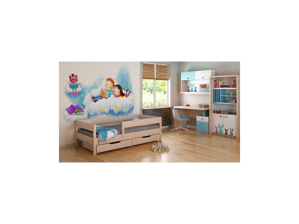 MIX 180x90 Dub bielený detská posteľ
