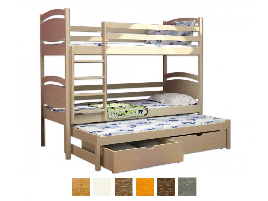 Petra 3 200x90 Poschodová posteľ s prístelkou