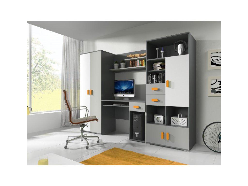 Detská študentská izba Tomi sivo-oranžová