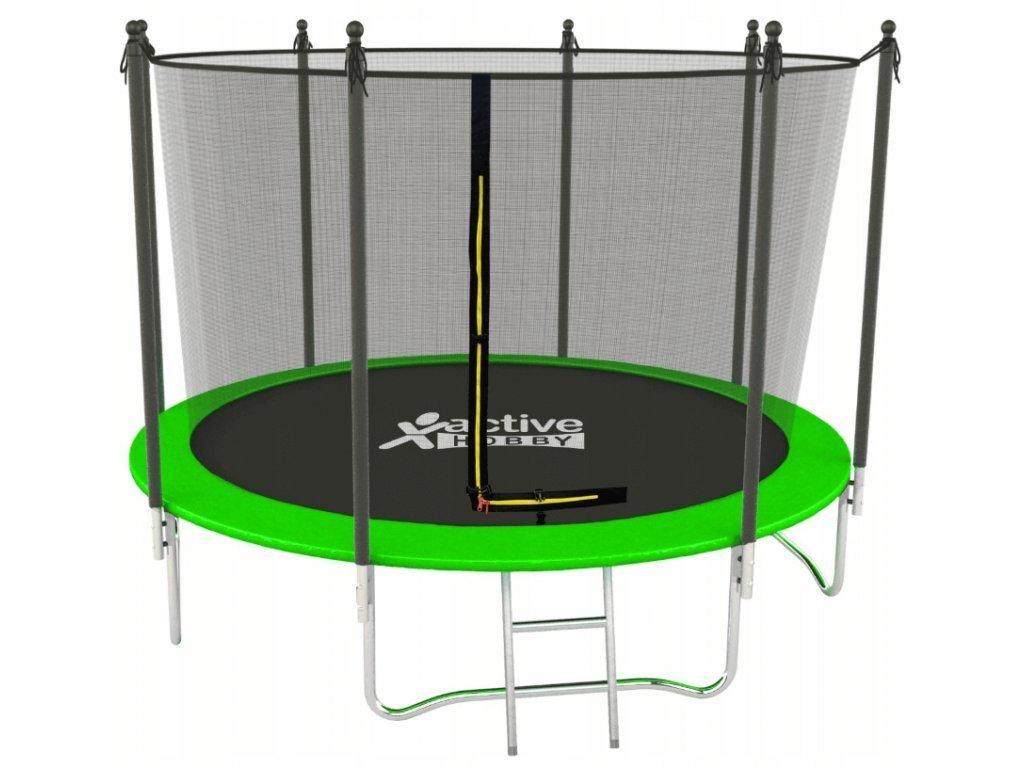 Trampolína 252 cm Active Hobby Zelená - vnútorná sieťka a rebrík