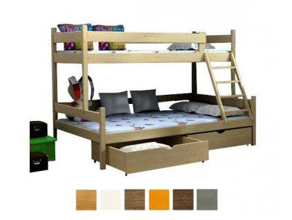 Petra 6 200x120x80 Poschodová posteľ s rozšíreným spodným lôžkom