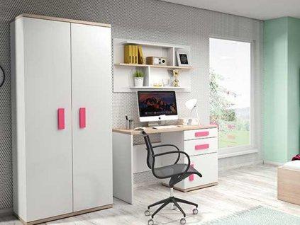 Nábytková stena IRIS biela/ružová
