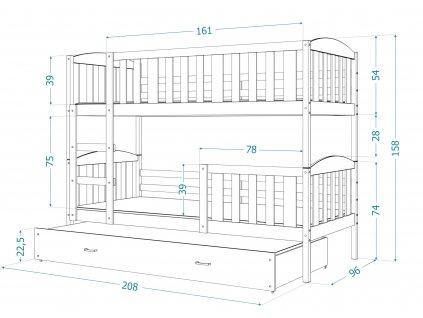 Poschodová posteľ pre 3 deti Jakub 3 Biela Color