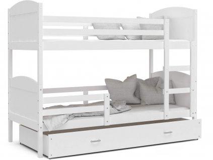 Mates biela MDF poschodová posteľ s úložným boxom bielym