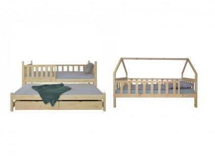 Poschodová posteľ s prístelkou Domček 200x90 - prírodná