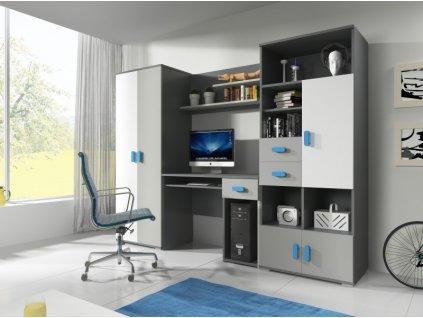 Študentská nábytková stena Sivo-modrá