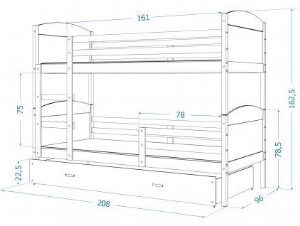 Mates biela MDF poschodová posteľ s úložným boxom 190x80 sivá