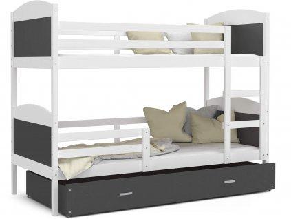 Mates biela MDF poschodová posteľ s úložným boxom 190x80