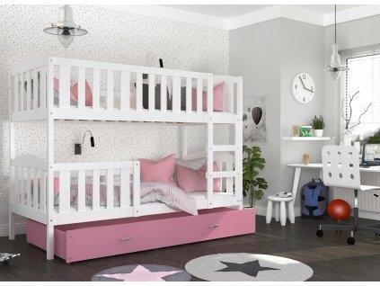 Poschodová posteľ pre 3 deti Jakub 3 Ružová Color