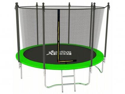 Trampolína 312 cm Active Hobby Zelená - vnútorná sieťka a rebrík