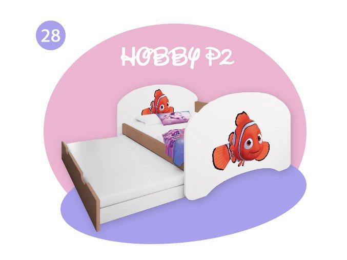 Hobby P2 200x90 detská posteľ s vyťahovacou prístelkou buk