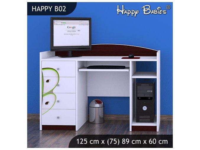 Písací stôl Happy Gaštan B02