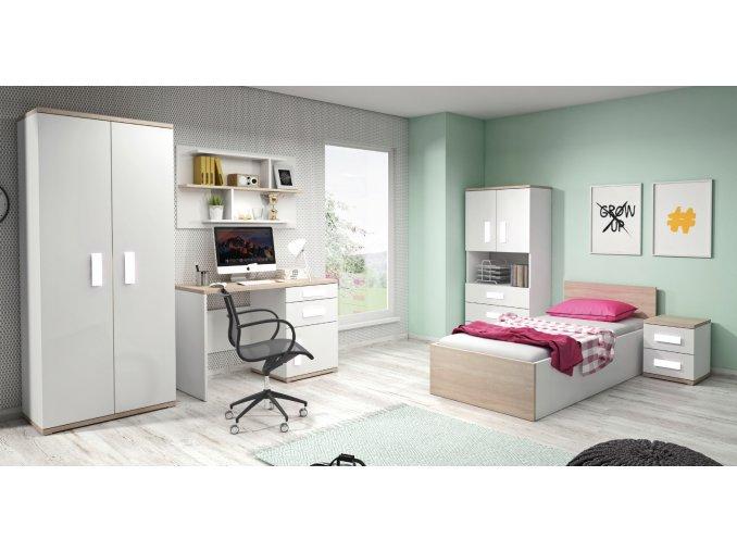 Študentská izba IRIS biela/dub sonoma