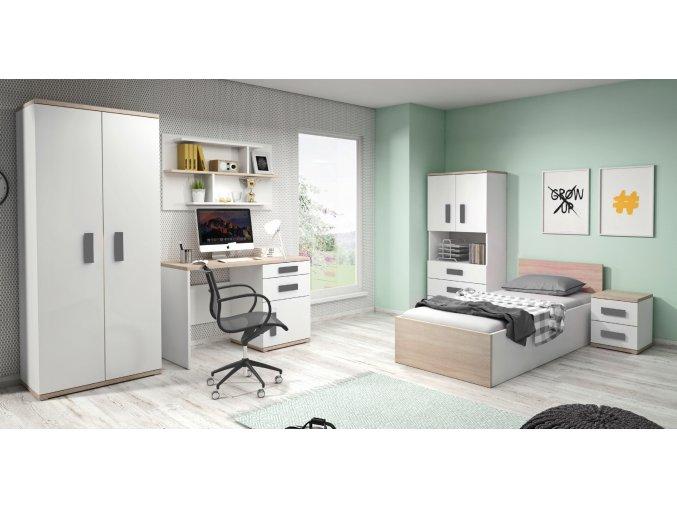 Študentská izba IRIS biela/sivá