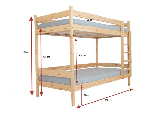 Dvojposchodová postel z masívu Paula 2 200x90