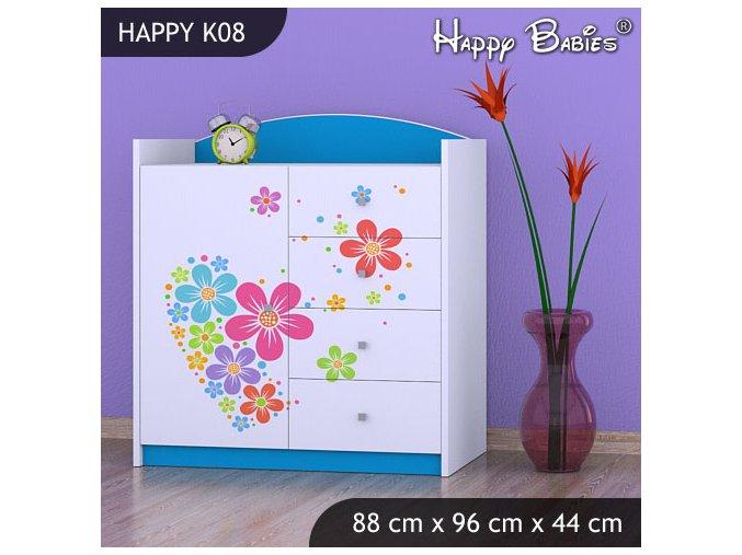 Komoda Happy Modrá K08