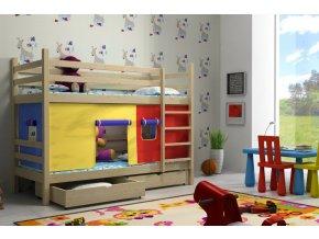 Detská poschodová posteľ Paula 11 so záclonkou 180x80
