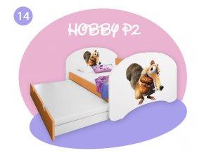 Hobby P2 160x80 oranžová - rozprávkové motívy