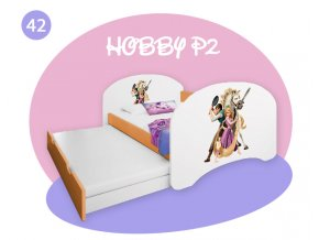 Hobby P2 detská posteľ s prístelkou oranžová 180x90 - rozprávky