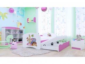 Happy P2 ružová rozkladacia posteľ 200x90