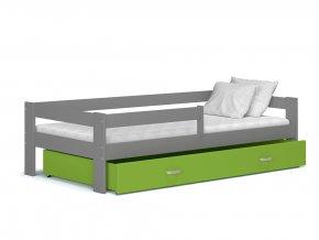 Harry sivá MDF detská posteľ s farebným čelom 160x80