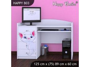 Písací stôl Happy Biely B03