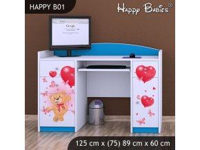Písací stôl Happy Modrý B01