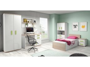 Študentská izba IRIS biela/zelená
