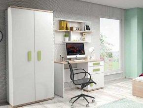 Nábytková stena IRIS biela/zelená