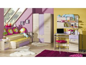 Detská posteľ LUCAS L13 - fialová/zelená