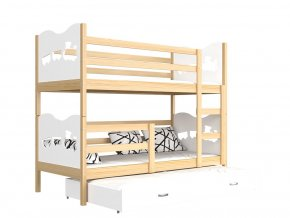 Poschodová posteľ Fox 3 s prístelkou 190x80 biela