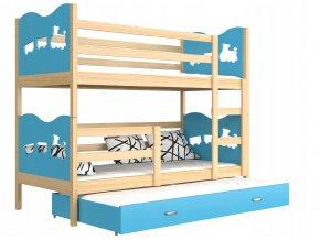 Poschodová posteľ s prístelkou Fox 3 190x80 modrá