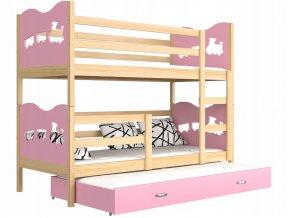 Detská poschodová posteľ Fox 3 s prístelkou 190x80 ružová