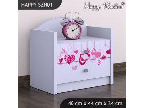 Nočný stolík Happy Biely SZNO 01 všetky motívy
