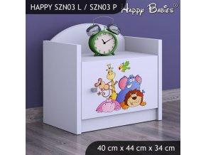 Nočný stolík Happy Biely SZNO 03 všetky motívy