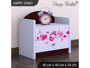 Nočný stolík Happy Gaštan venge SZNO 01 všetky motívy