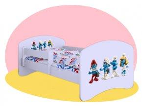 Šmolkovia - detská posteľ Hobby biela 140x70