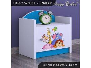 Nočný stolík Happy Modrý SZNO 03 všetky motívy
