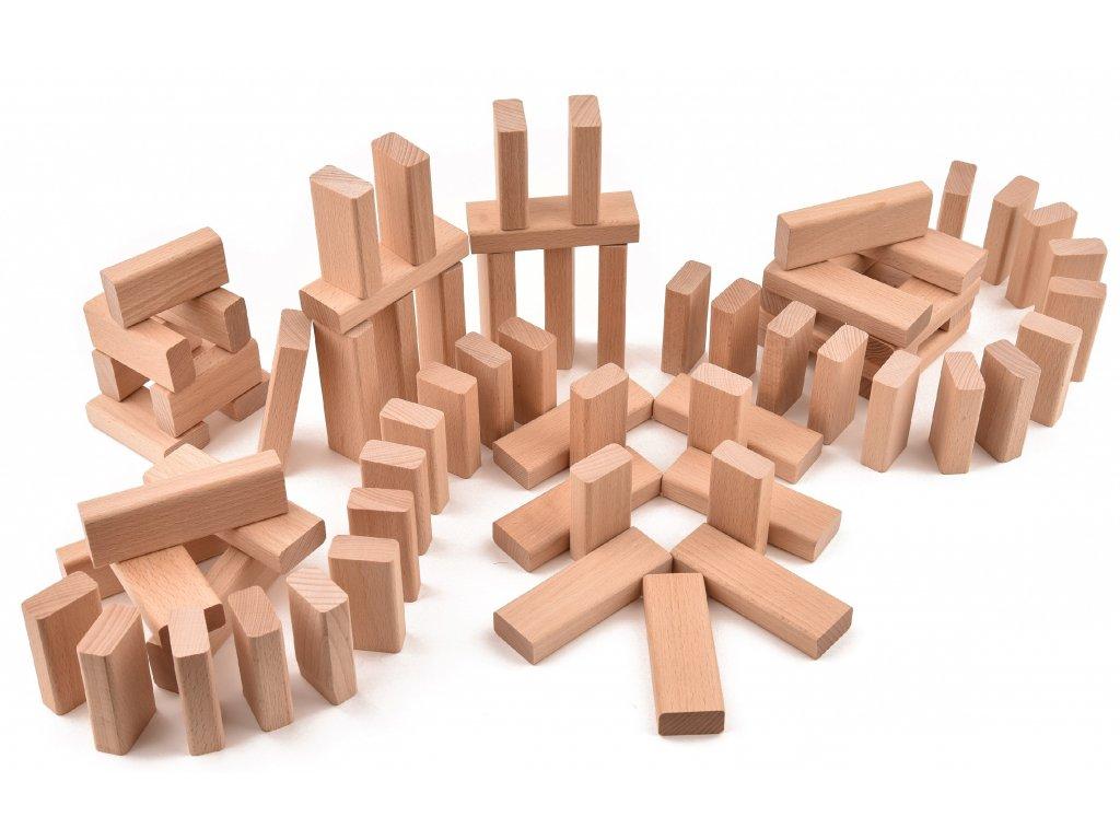 """Dřevěná stavebnice - velké a malé desky - 71 ks """"VictorCube"""""""