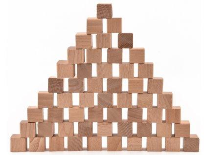 Dřevěné kostky - sada 55 kusů (+ pytlík)