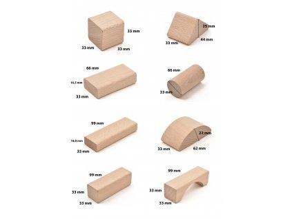 Dřevěná stavebnice - 51 ks komponentů (+ pytlík)